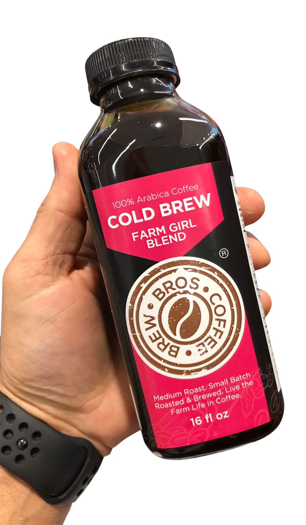 Artisan Small Batch Roasted 16 hour Brew Farm Girl COLD Brew Bros Coffee 8 pack - 16oz Smooth Medium Roast with Caffeine Kick