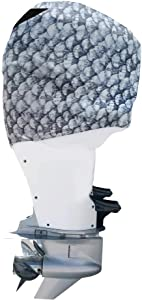 OUTERENVY Grey Fish Scales Outboard Motor Cover for Mercury Verado 225-400 HP 6-Cylinder Supercharged | Made in USA to Stay on While You Run!