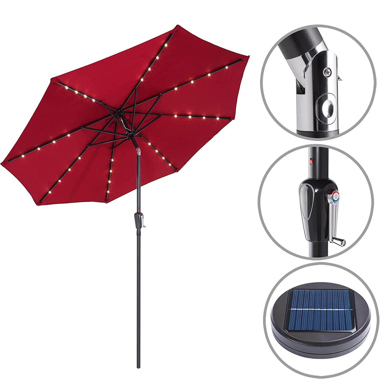 Kingsleeve Parasol Garden Parasol Crank Solar Aluminium LED Lighting Diameter 300 cm