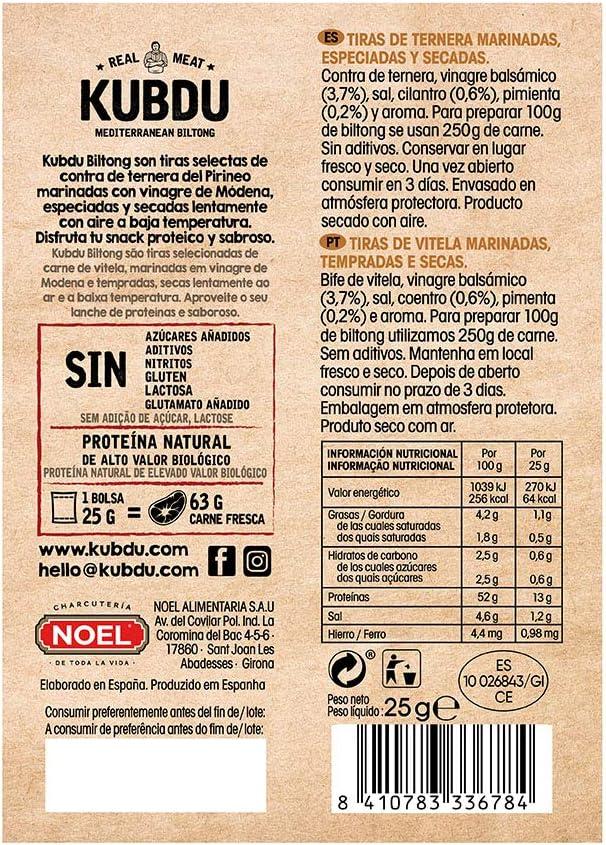 Noel Kubdu Tiras Curadas de Ternera Original, 25g: Amazon.es ...