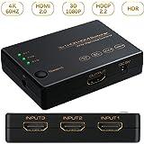 HDMI切替器 HDMI分配器 3入力/1出力 4K+3D 高速HDMIセレクター 4K60Hz HDMI2.0 HDCP2.2対応 高解像度 自動手動切替機能搭載 USB給電ケーブル リモコン付き PS4 Pro、PS3、Xbox、Fire TV、ROKU、ラップトップ、Apple TV、DVDプレーヤーなど対応