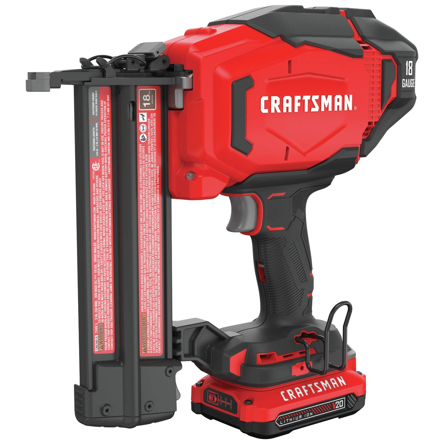 CRAFTSMAN V20 Cordless Brad Nailer Kit, 18GA CMCN618C1