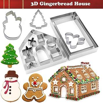 KAISHANE - Juego de moldes para galletas en forma de casa (10 piezas, acero inoxidable 3D): Amazon.es: Hogar