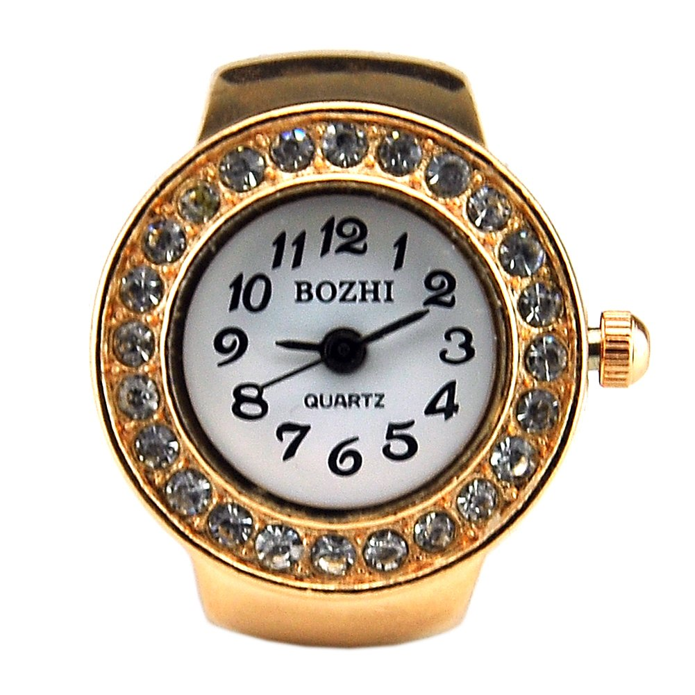 Womens Rose Gold Crystal Quartz Finger Ring Watch with Gift Box