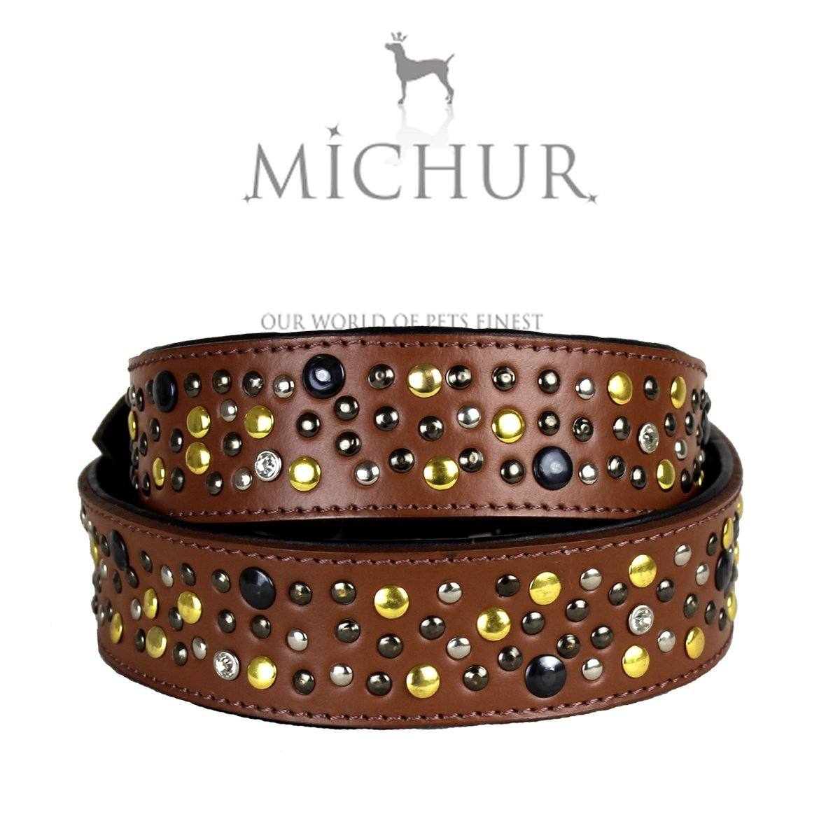 Neck size  15.318.1\ Michur Reiko brown leather collar with rivets for dogs available in different sizes