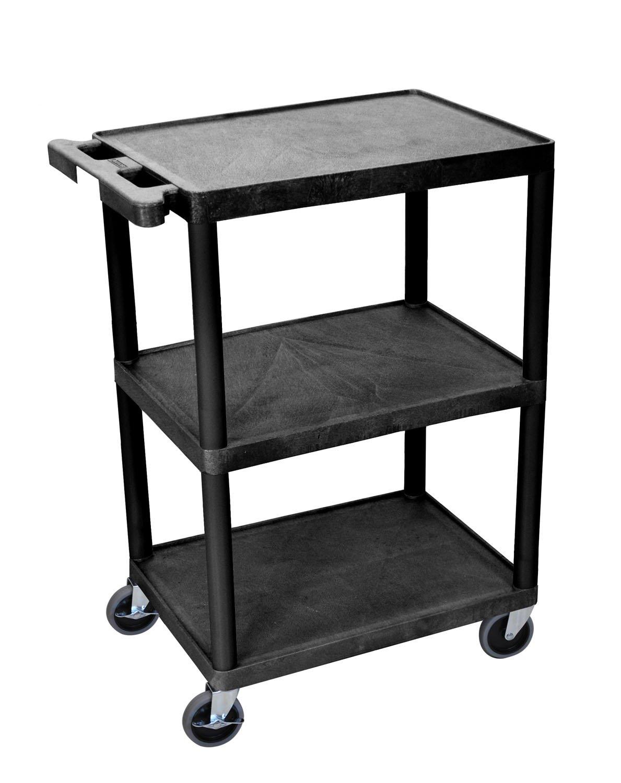 LUXOR STC222-B 3-Shelf Utility Cart, Black