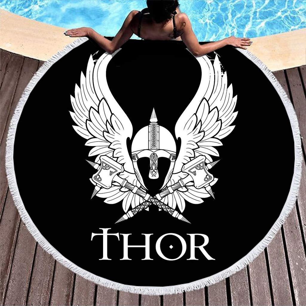 Mythología nórdica, colcha de playa, negra y blanca, diseño de ...