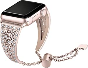 Secbolt Bling Metal Bands Compatible with Apple Watch Band 38mm 40mm iwatch SE Series 6/5/4/3/2/1, Dressy Jewelry Diamond Cuff Bracelet Bangle Wristband Women, Champagne Gold