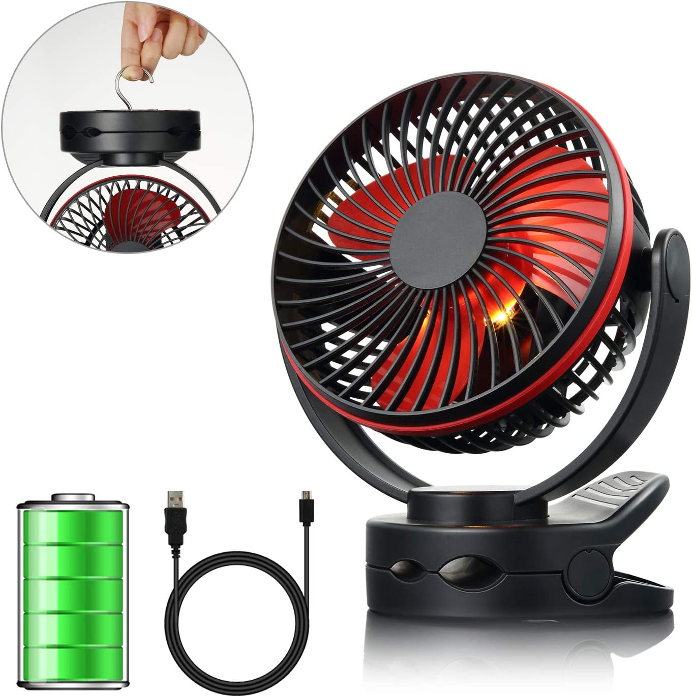 efluky 4 Speeds Desk Clip Fan with Two Adjustable Lights and 3600mAh Rechargeable Battery Operated Fan, Portable USB Fan for Baby Stroller Crib,Camping, BBQ Outdoor Indoor Activity, Black
