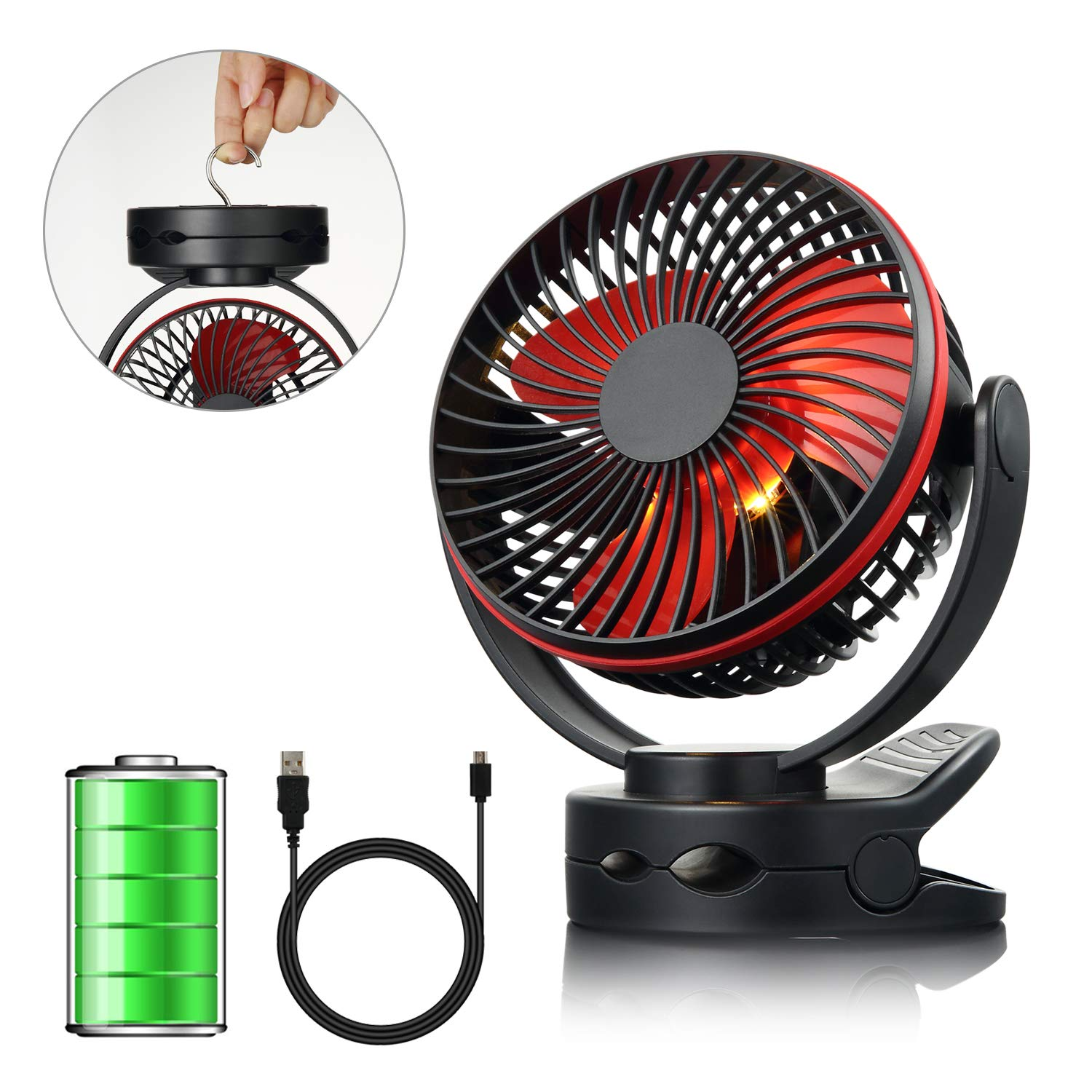 efluky 4 Speeds Desk Clip Fan with Two Adjustable Lights and 3600mAh Rechargeable Battery Operated Fan, Portable USB Fan for Baby Stroller Crib,Camping, BBQ Outdoor Indoor Activity, Black by efluky