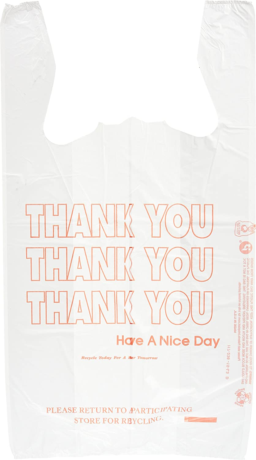 T-Shirt Thank You Bag in White, 900/Case Inteplast Group IBSTHW1VAL