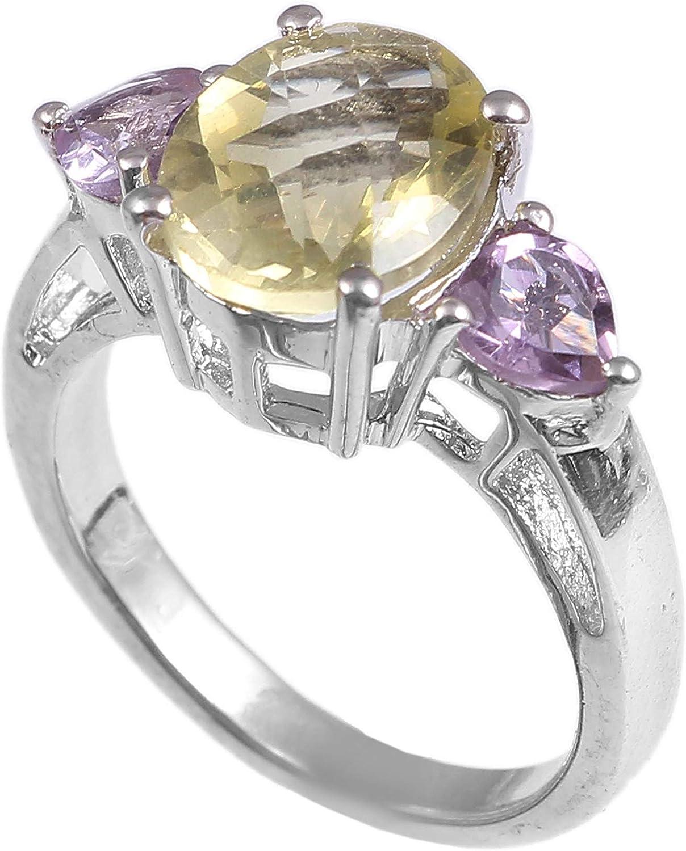 Anillo de plata de ley 925 para mujer anillo de piedra preciosa natural Cuarzo limón, amatista Banda de boda para las mujeres Piedras preciosas anillo, anillo de compromiso Tamaño del anillo 16