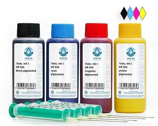 4x100 ml PureInk de Tinta Para Recargar, Tinta De impresora Para HP 934, 935 Cartuchos Para impresora, HP Officejet PRO 6820, PRO 6800 Series, PRO ...
