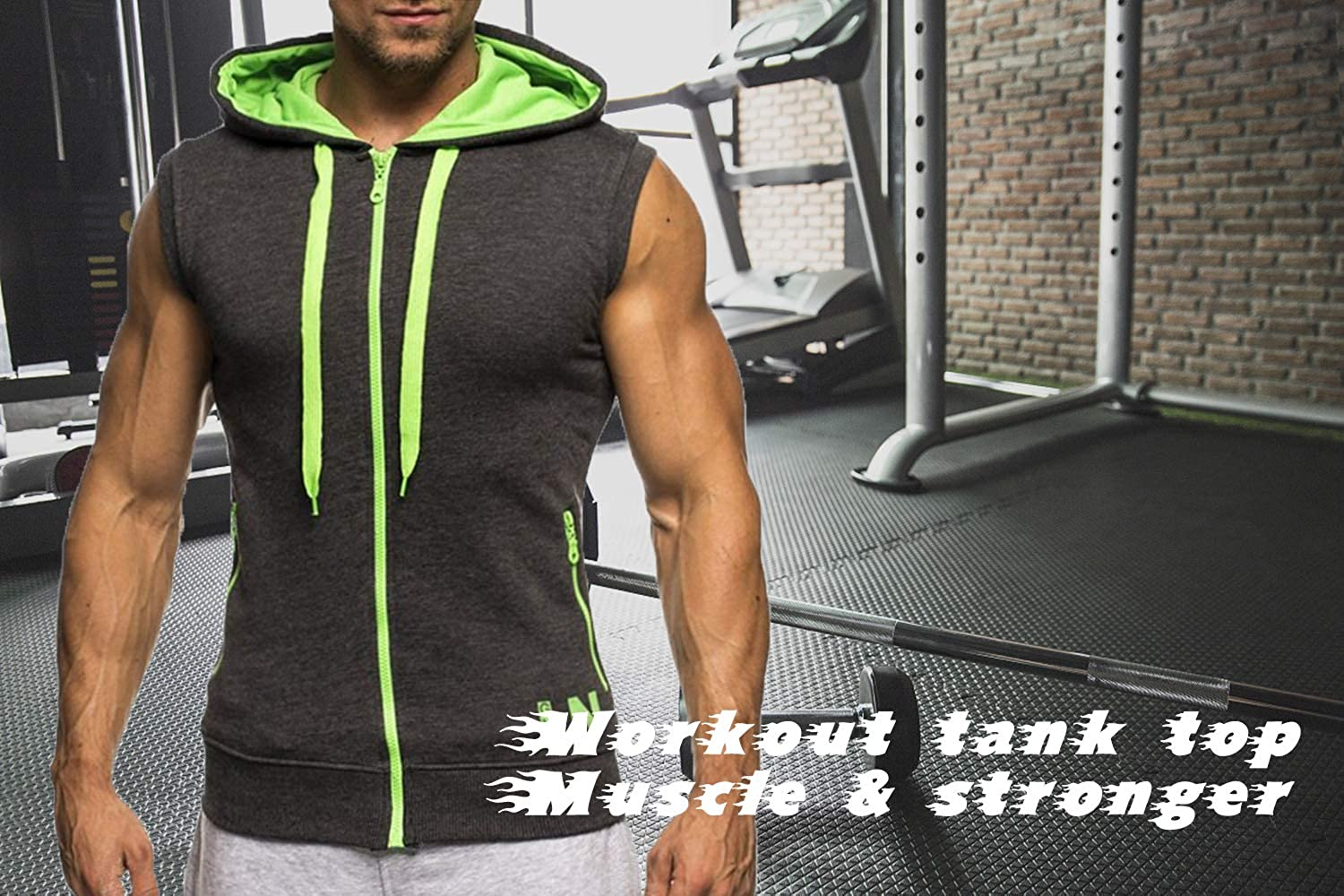 ovett Mens Tank Hoodies Workout Pocket Sleeveless Gym Muscle Hooded Sweatshirt