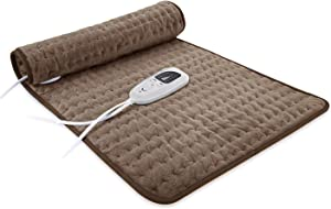 "(12""x24"") Electric Heating Pad with 6 Temperature Settings, Machine Washable, Auto Shut-Off, and Moist Heat Heating Pad for Pain Relief (Brown)"