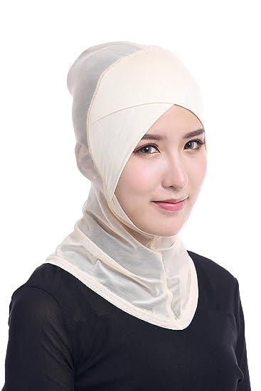 MOMEPE Women Cross Mesh Neck Head Cover Muslim Hijab Hat Headscarf Turban Beige