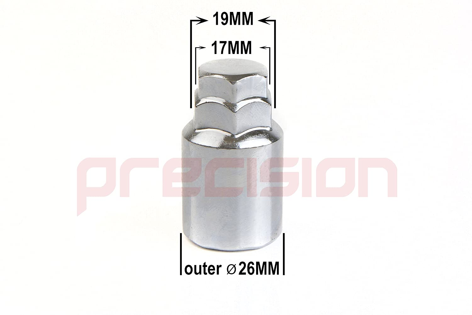 16 x Chrome Wheel Bolts Set with 4 x Locking Nuts for Aftermarket Alloy Wheels Only M12x1.5x26mm✓ 60/° Taper✓ Part No.16BM17+B17AM