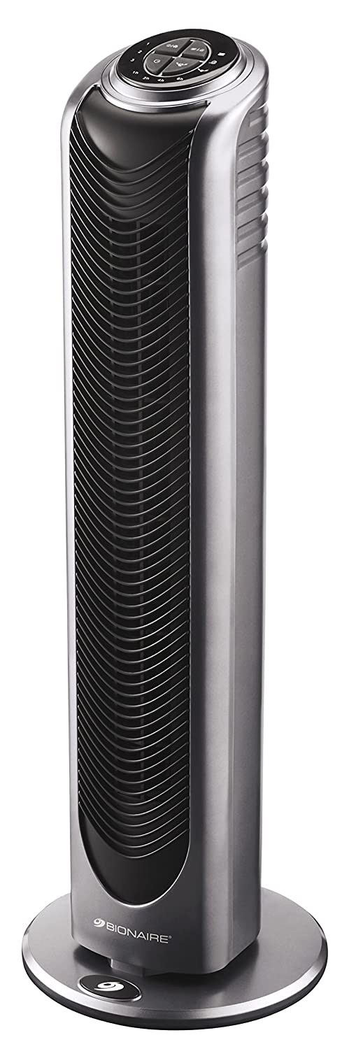 Bionaire Oscillating Tower Fan with Remote Control & Timer, Silver/Black [BT19] Holmes Products BT19-IUK