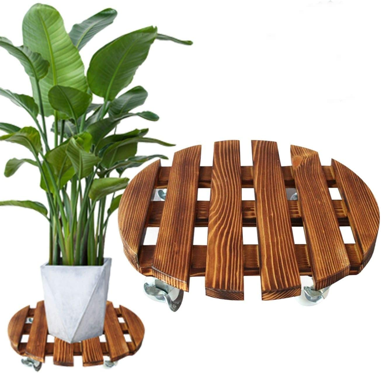 """Rakeyva 11.8""""(30cm) Wood Plant Caddy with Wheels, Round Plant Stand, Heavy Duty 220Lbs Rolling Dolly Casters Patio Garden Flower Pot Mover with Locking Wheels Plant Tray Trolley Casters"""
