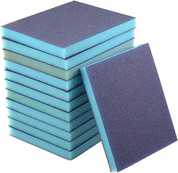Esponja de lija grano grueso 100 Grit bloque de lija Pad 4.72 x 3.86 x 0.47 Tama/ño 8 piezas Sourcingmap