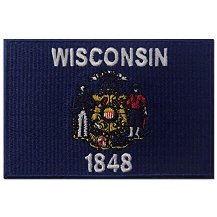 5f156bb4640d2 Wisconsin State Flag Embroidered Emblem Iron On Sew On WI Patch
