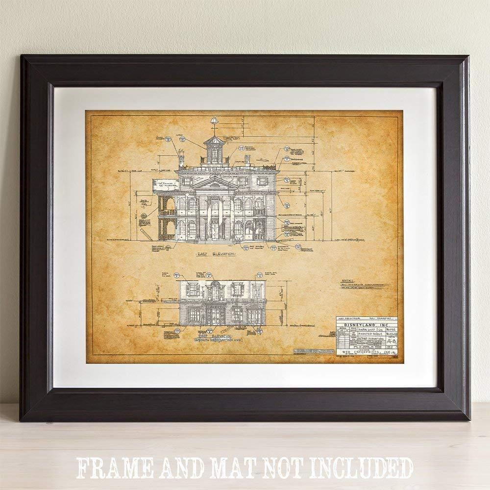 11x14 Unframed Art Print East Side Blueprint The Haunted Mansion Disneyland Great Gift Under $15 for Disney Fans