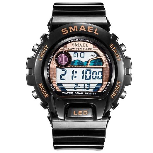 Beydodo Relojes Electronicos Reloj Multifunción Reloj Deportivo Reloj Impermeable Reloj de Pantalla Única Reloj Hombre Reloj Negro Oro: Amazon.es: Relojes