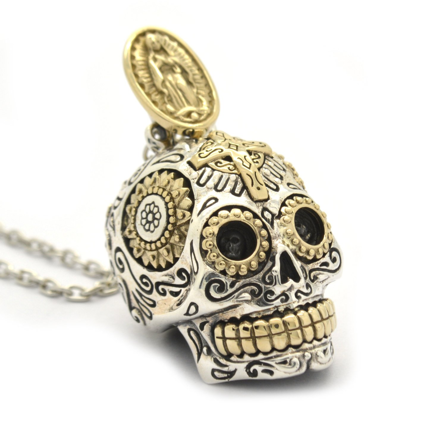 sugar crystal pewter threaded swarovski detail with metal products skull pendant