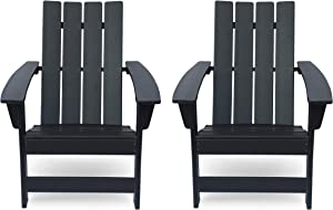 Christopher Knight Home 312641 Robert Outdoor Contemporary Adirondack Chair (Set of 2), Matte Black