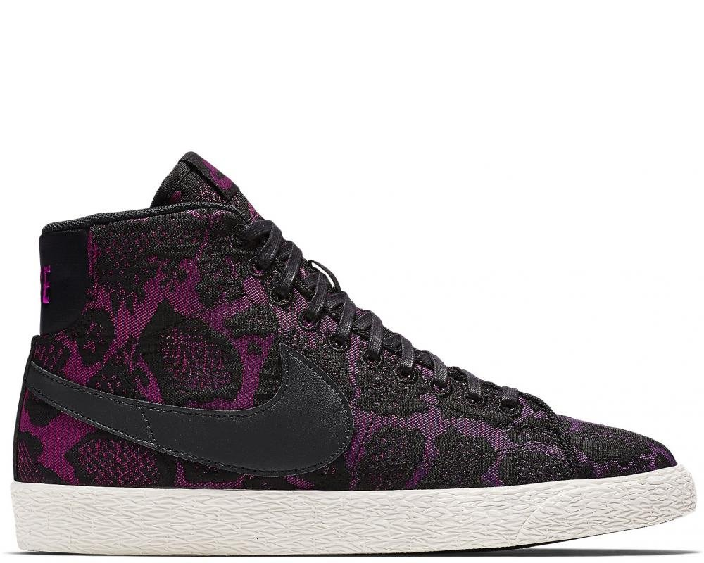 Women's Nike Blazer MID JCRD Shoes (6.5, Mulberry/Black/Fuchsia Flash)