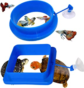 Zvaiuk Thicken Fish Feeding Ring, ABS Material Floating Food Feeder, Aquarium Fish Tank Fish Food Feeder Circle for Guppy, Goldfish and Turtle (Square and Round)