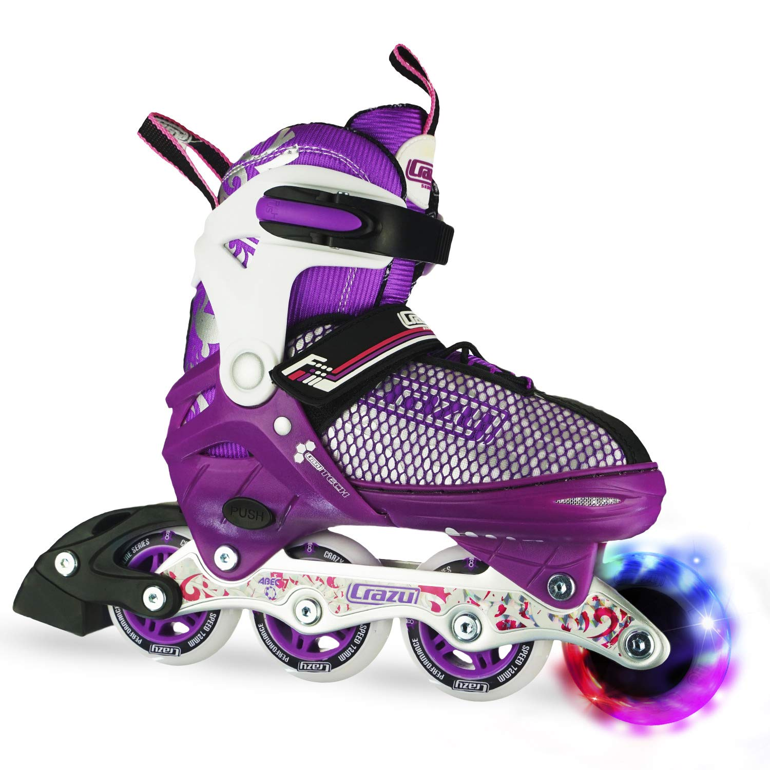 Crazy Skates Adjustable Inline Skates with Light Up Wheels | Roller Blades for Girls | Purple Small (Sizes Jr11-1)