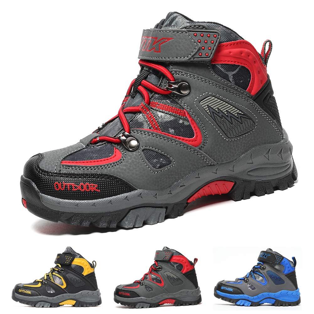 Boots Boys Winter Snow Sneakers Girls Hiking Trekking Climbing Outdoor Shoes Big Little Kids Waterproof Non-Slip Steel Buckle