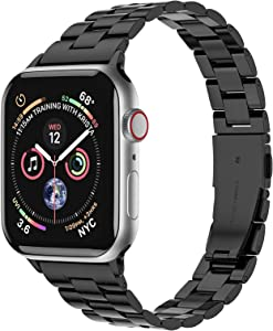 Fitlink Slim Stainless Steel Metal Band for Apple Watch 38/40/42/44mm Strap Replacement Link Bracelet Band Compatible with Apple Watch Series 6/54/3/2/1/SE for Woman(Black,42/44mm)