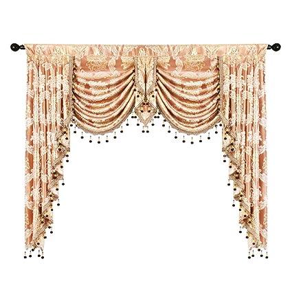 Elkca Golden Damask Jacquard Swag Waterfall Valance Luxury Curtain Valance  For Living Room Rod Pocket Valance