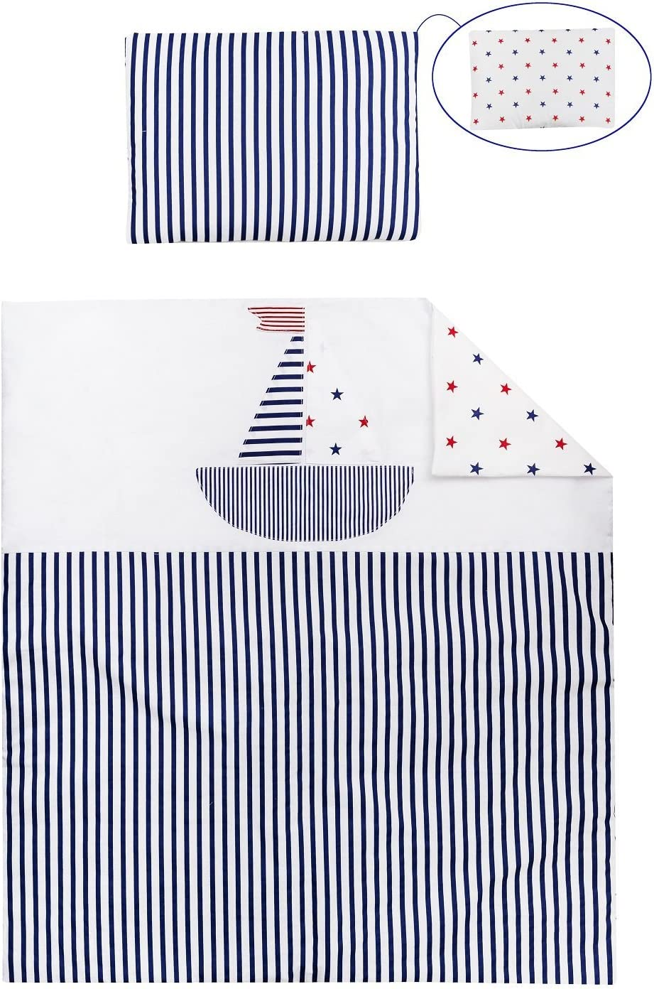 OekoTex Quilt /& Pillow for Moses Basket Vizaro Blue and White 70 x 80 cm, Pillow 25 x 30 cm C 100/% Luxury Cotton Made in EU for CO-Sleeping Safe for Babies