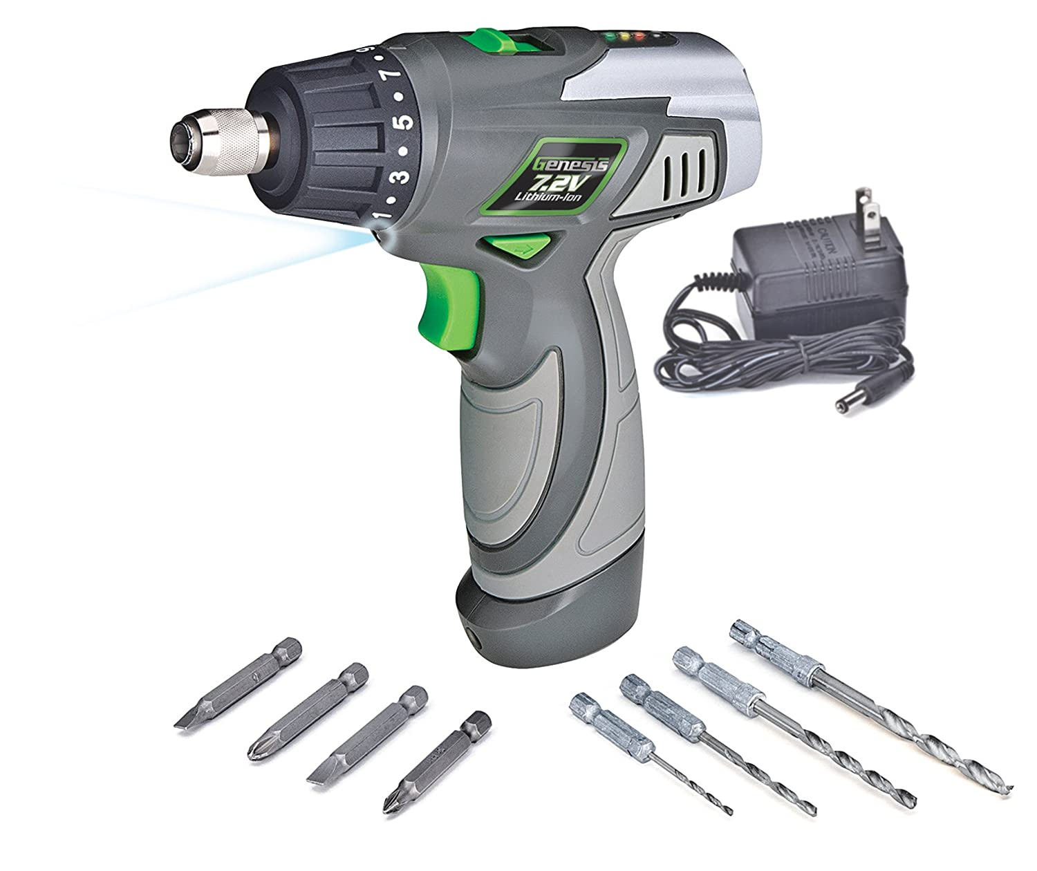 Genesis GLSD72A 7.2V Lithium Ion 2 Speed Screwdriver Grey 1 4 inch chuck with Trigger Activated LED light Battery Charger and 8 Piece Accessory Drill and Driver Bit Set