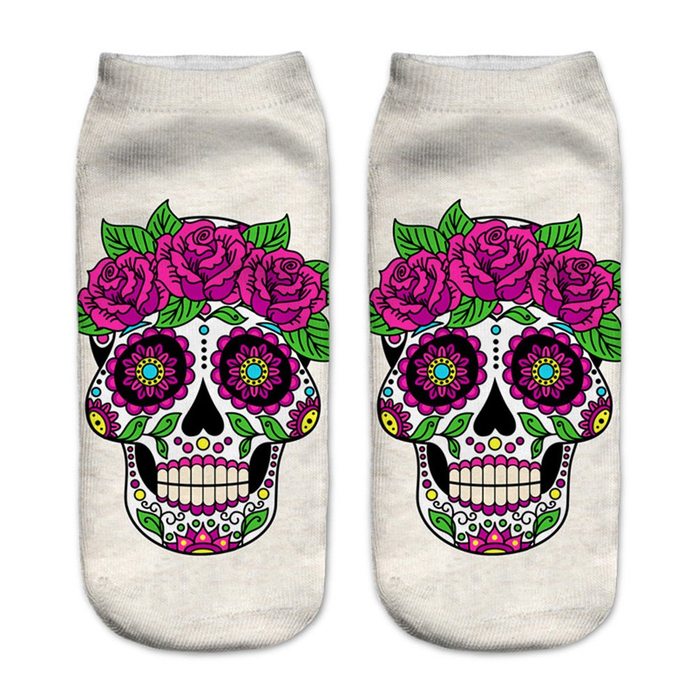 Women's 3D Cartoon Print Funny Smiley Casual Crazy Novelty Ankle Socks Value Pack (skull 1) by Footalk (Image #4)
