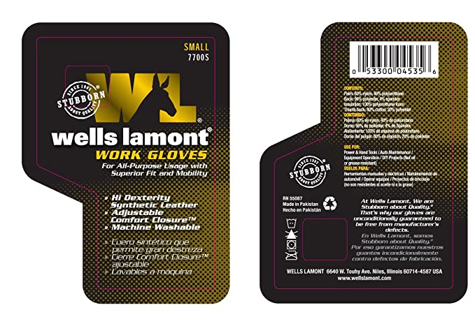Wells Lamont Synthetic Leather Work Gloves, High Dexterity, Extra Large (7700XL)