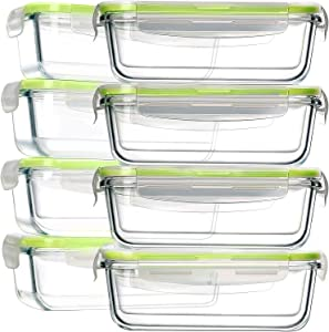 8 Pack 30oz Glass Food Storage Containers, Bayco Glass Meal Prep Containers, Airtight Glass Storage Containers with Lids - BPA-Free & Leak Proof (8 lids & 8 Containers), Green