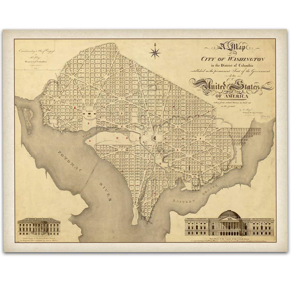 1818 Map of Washington DC - 11x14 Unframed Art Print - Great Vintage Home Decor Under $15