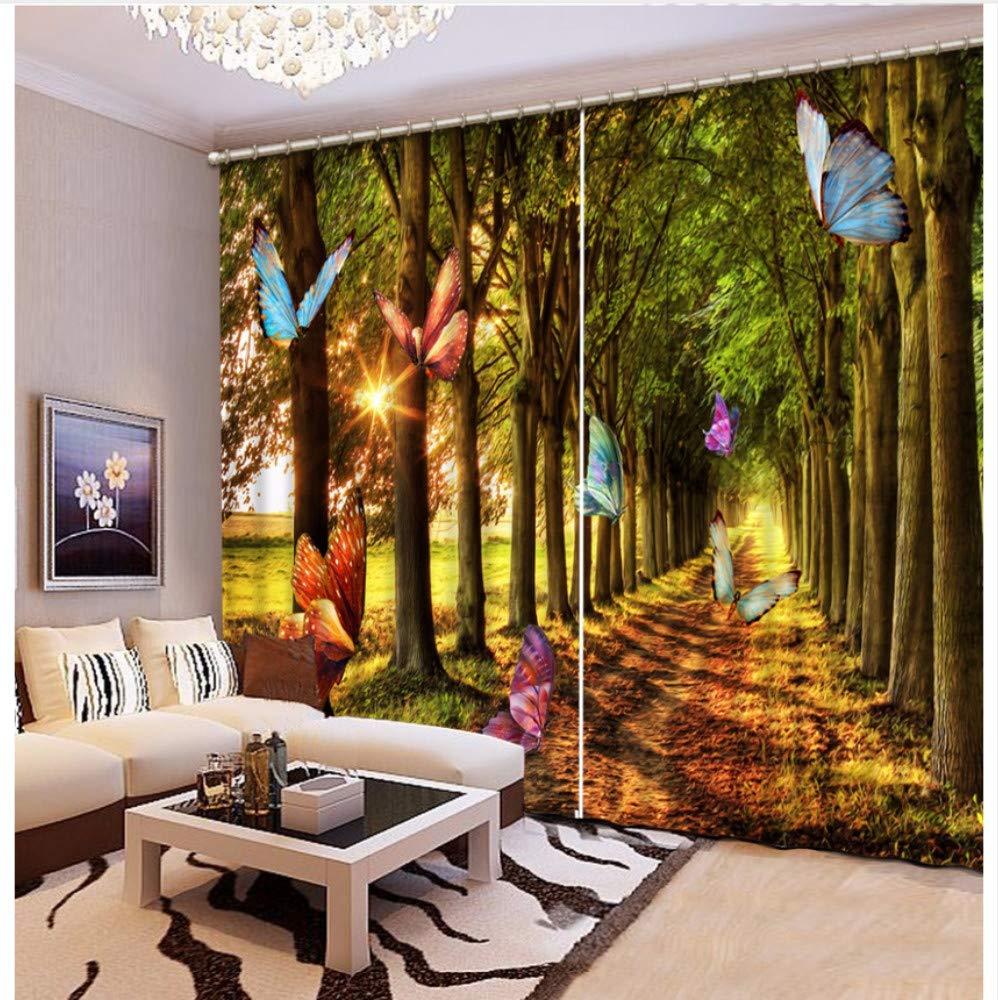 WKJHDFGB Moderne Druckvorhänge Schmetterlingsbaum Landschaft Gardinen Für Wohnzimmer Schlafzimmer Fenster Vorhang Dekoration,245X280Cm