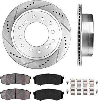 Rear Brake Rotors /& Ceramic Pads For TOYOTA SEQUOIA FJ CRUISER 4RUNNER GX470