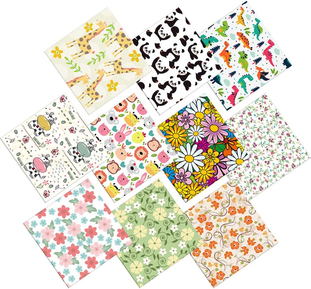 Amazon Com 10pcs Cotton Fabric 9 8 X 9 8 Inches 25 X 25cm Cartoon Flower Print Cotton Fabric Quilting Squares Patchwork Fabric Fat Quarter Bundles Fabric For Sewing Diy Crafts Handmade Bags