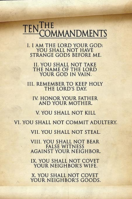 graphic relating to 10 Commandments Poster Printable identified as : The 10 Commandments Common Poster, 10