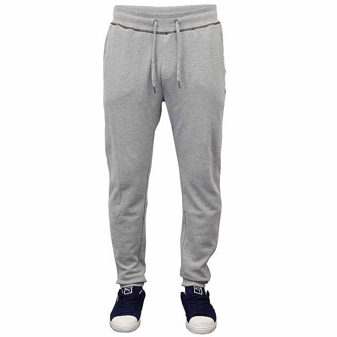 Mens Jogging Slim Fit Pants Denim Bottoms Threadbare Sweat Trouser Cuffed New