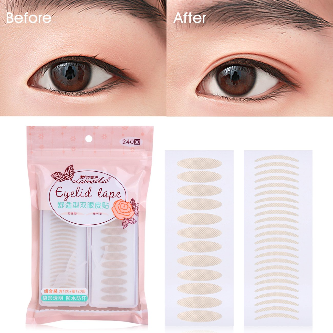 Lameila 240 Pairs Invisible Fiber Lace Double Eyelid Tape Self-Adhesive Double Eyelid Stickers - Natural Complexion (Silm + Wide)