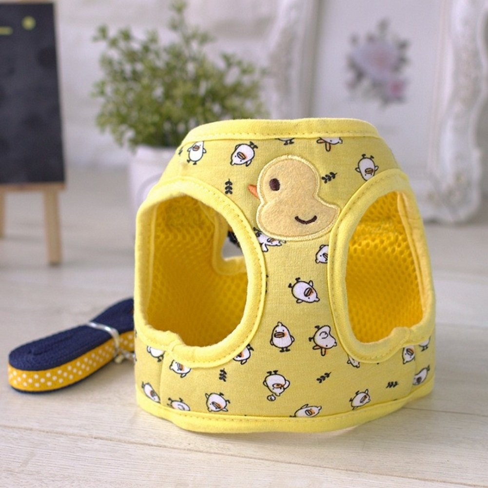 Stock Show Small Pet Summer Spring Cute Cartoon Harness Vest and Matching Polka Dots Lead Leash Set Breathable Soft Mesh Padded Adjustable Chest Strap Hareness for Puppy Kitten Small Animal, Yellow