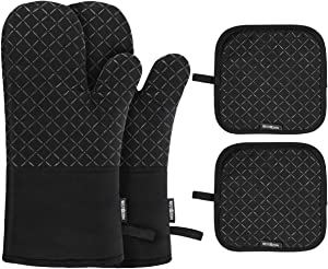 BESTONZON 4PCS Heat Resistant Oven Mitts and Pot Holders, Soft Cotton Lining with Non-Slip Surface for Safe BBQ Cooking Baking Grilling (Black)