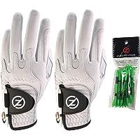 Zero Friction Cabretta Elite - Guantes de Golf para Hombre, 2 Unidades, Incluye Paquete de Camisetas Gratis, Ajuste Universal